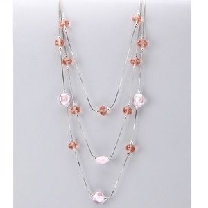 Pink Glass Crystal Necklace